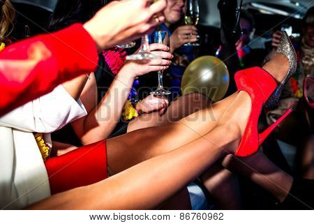 Hen-party In Limo With Champagne