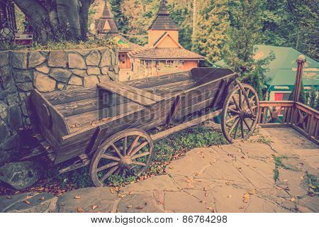 Wooden Cart In The Yard