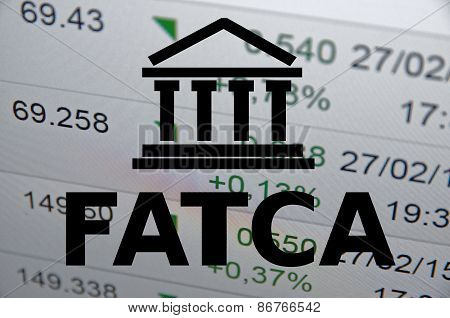 Building icon with inscription (FATCA) Foreign Account Tax Compliance Act. poster