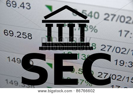 Building icon with inscription SEC. Financial illustration.