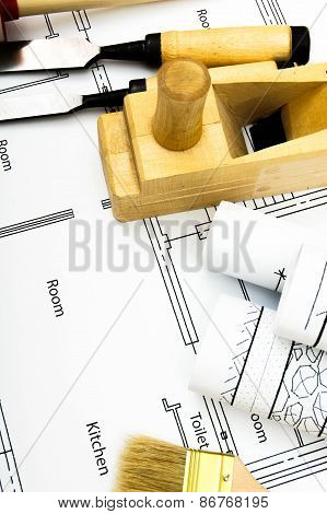 Joiner's works. Drawings for building and working tools.