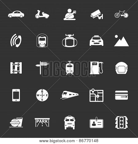 Land Transport Related Icons On Gray Background