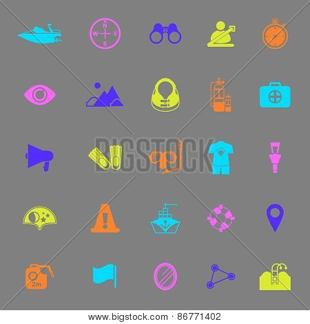 Waterway Related Color Icons On Gray Background