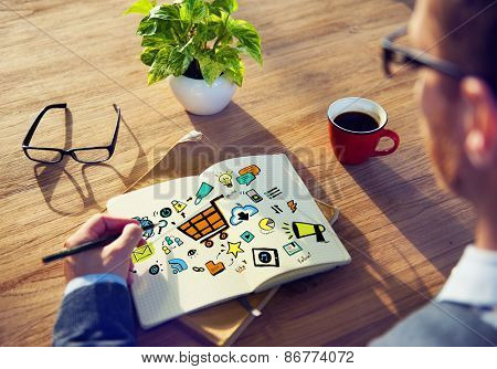 Businessman Online Marketing Planning Working Concept