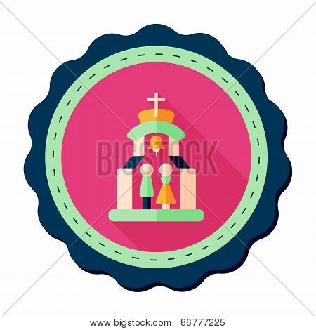 Wedding Ceremony In Chruch Flat Icon With Long Shadow,eps10, stylish colors of vector illustration. poster
