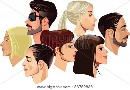 vector portraits of faces of men and women in profile