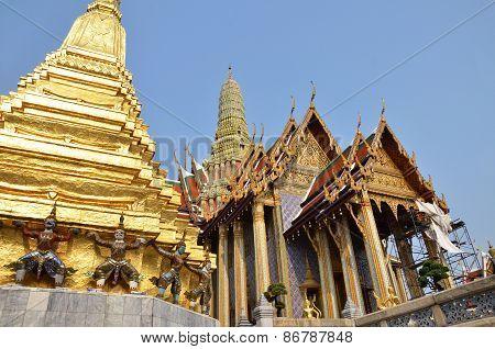 A golden pagoda Grand Palace Bangkok Thailand poster