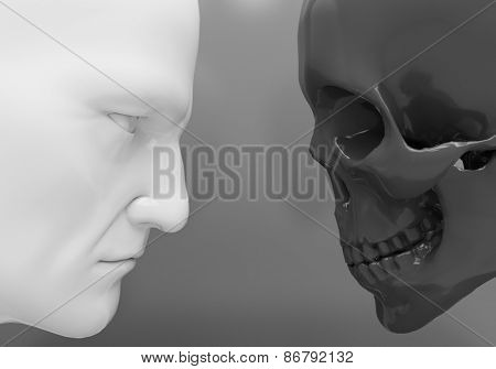 A man and a skeleton confront each other