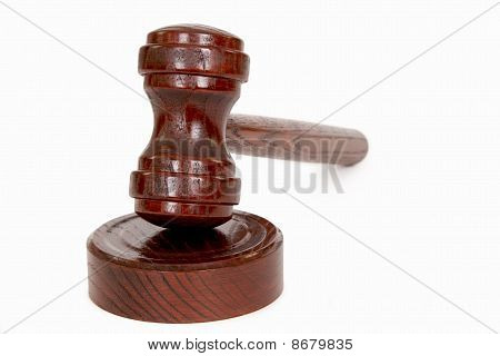 Wooden judge's gavel - isolated on white poster