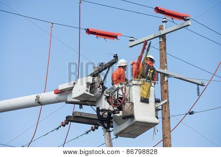 Aerial Powerline Workers