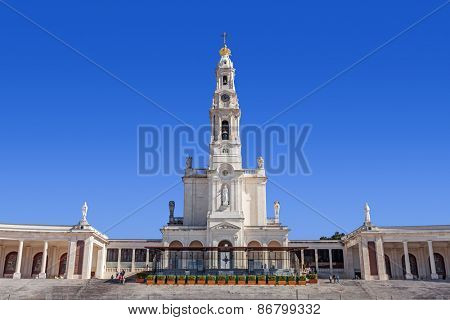 Sanctuary of Fatima, Portugal. Basilica of Nossa Senhora do Rosario and the colonnade. One of the most important Marian Shrines and pilgrimage locations for the Catholics