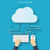 Flat cloud computing background. Data storage network technology. Multimedia content and web sites hosting. poster