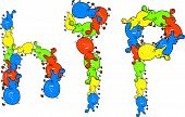 Colourful illustration of the word HIP made up of lots of little cartoon hippopotamuses isolated on white. poster