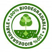 One hundred percent biodegradable label. poster