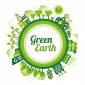 Green planet Earth concept. Sustainable green living around the globe. There are wind turbines, solar power generators, electric car, rain water tanks and recycle bin. poster