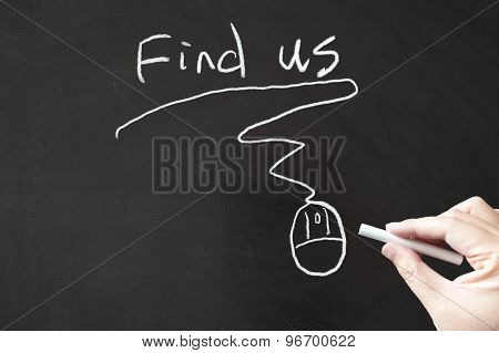 Find Us Words And Mouse Sign