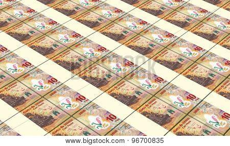 Mexican pesos bills stacks background.