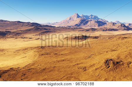 3D Fantasy desert landscape with the mountains in the background