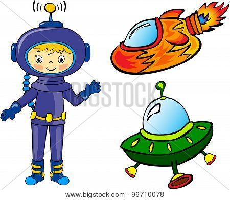 Astronaut And Rockets