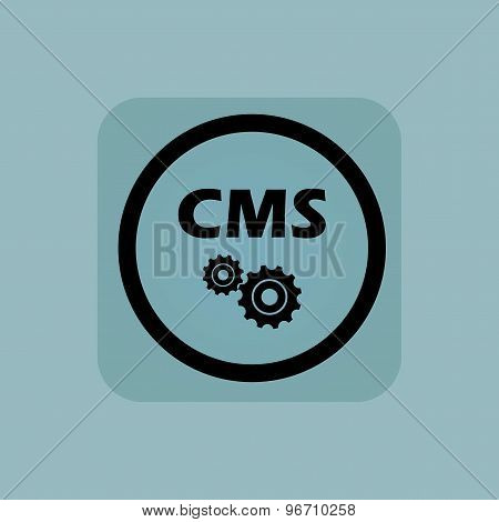 Pale blue CMS settings sign