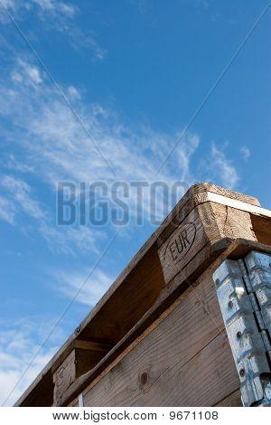 Euro Pallet On Sky Background