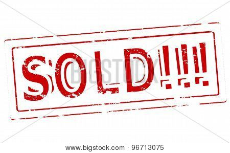 Rubber stamp with word sold inside vector illustration