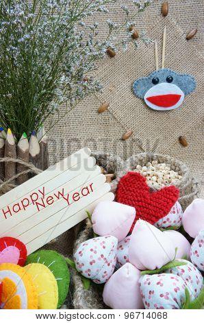 Monkey, Happy New Year 2016, Time, Clock, Handmade Fruit