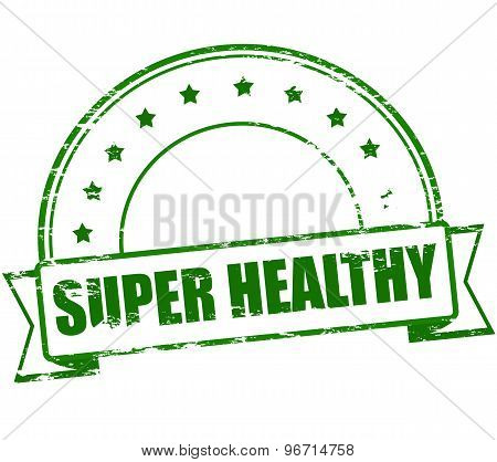 Rubber stamp with text super healthy inside vector illustration