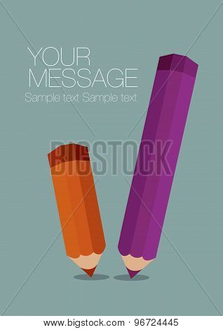 Color Pencils Poster Vector Background Template Design