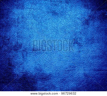 Grunge background of dodger blue leather texture