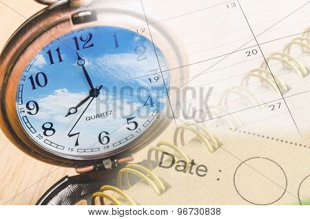 Collage With Clock And Calendar, Time Concept