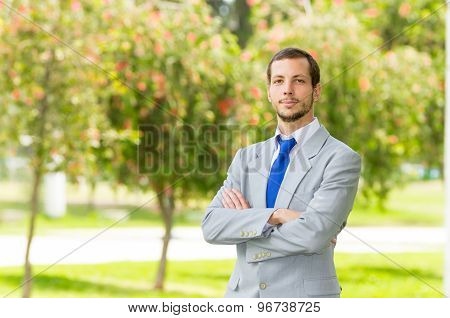 Handsome successful businessman professional in grey suit posing for camera at the park