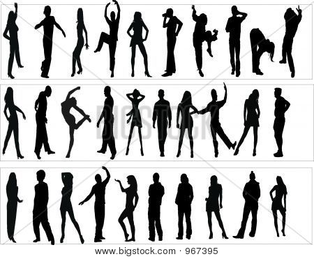 Silhouettes Man And Women, Illustration
