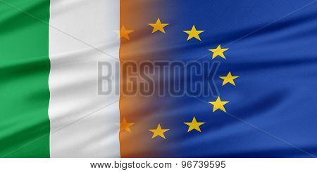 European Union and Ireland. The concept of relationship between EU and Ireland. poster