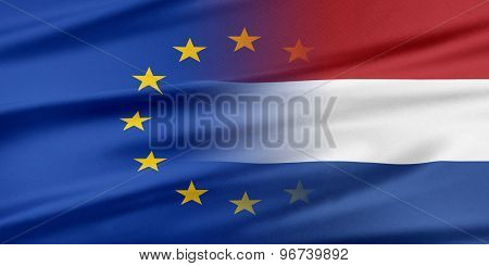 European Union and Netherlands. The concept of relationship between EU and Netherlands. poster