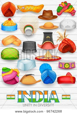 illustration of collection of traditional Indian headgears