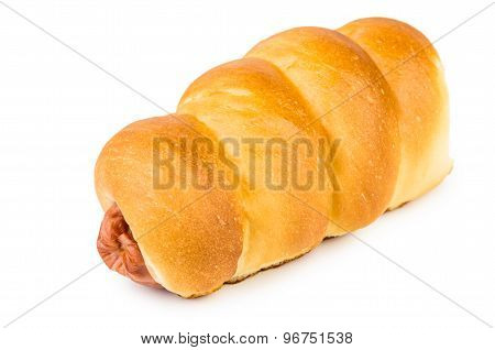 Fresh Sausage Roll Isolated On White