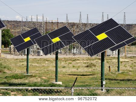 Solar panels collectors Green energy global warming photo voltaic