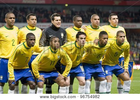 LONDON, ENGLAND. March 02 2010: The Brazil team prior to the international football friendly between Brazil and the Republic of Ireland played at the Emirates Stadium.