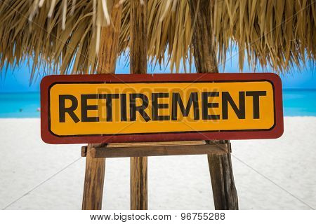 Retirement sign with beach background