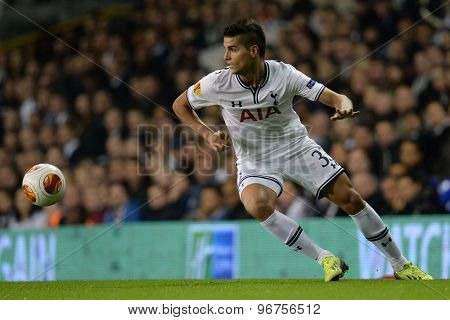 LONDON, ENGLAND - September 19 2013: Tottennham's Erik Lamela during the UEFA Europa League match between Tottenham Hotspur and Tromso played at The White Hart Lane Stadium.