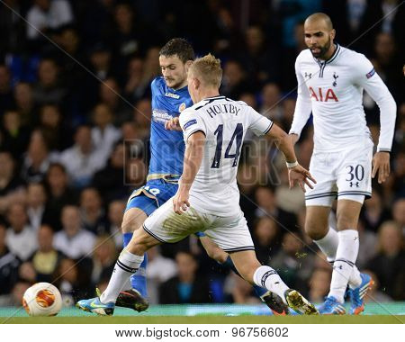 LONDON, ENGLAND - September 19 2013: Tottenham's Lewis Holtby  during the UEFA Europa League match between Tottenham Hotspur and Tromso played at The White Hart Lane Stadium.