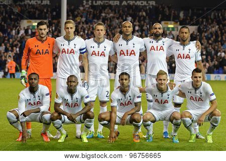 LONDON, ENGLAND - September 19 2013: Tottenham Hotspurs lean line up before the UEFA Europa League match between Tottenham Hotspur and Tromso played at The White Hart Lane Stadium.