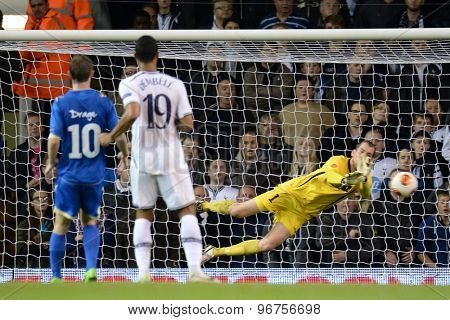 LONDON, ENGLAND - September 19 2013: Tromso's Marcus Sahlman makes a save during the UEFA Europa League match between Tottenham Hotspur and Tromso played at The White Hart Lane Stadium.