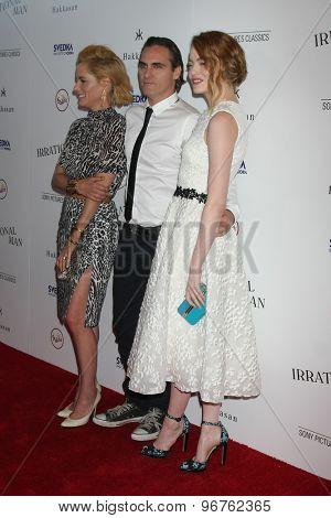 LOS ANGELES - JUL 9:  Parker Posey, Joaquin Phoenix, Emma Stone at the