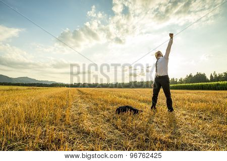 Businessman In The Field Raising Arm For Success