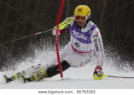 GARMISCH PARTENKIRCHEN, GERMANY. Feb 19 2011: Ivica Kostelic (CRO)  competing in the mens  slalom race , at the 2011 Alpine skiing World Championships