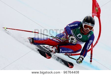 GARMISCH PARTENKIRCHEN, GERMANY. Feb 18 2011: TJ Baldwin (GBR) competing in the mens giant slalom race on the Kandahar race piste at the 2011 Alpine skiing World Championships