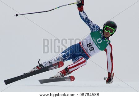 GARMISCH PARTENKIRCHEN, GERMANY. Feb 18 2011: Virgile Vandeput (ISR) competing in the mens giant slalom race on the Kandahar race piste at the 2011 Alpine skiing World Championships