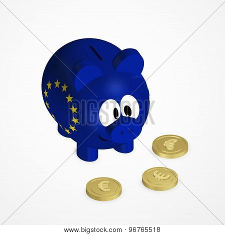 Piggy Bank With European Union Flag And Euro Coins